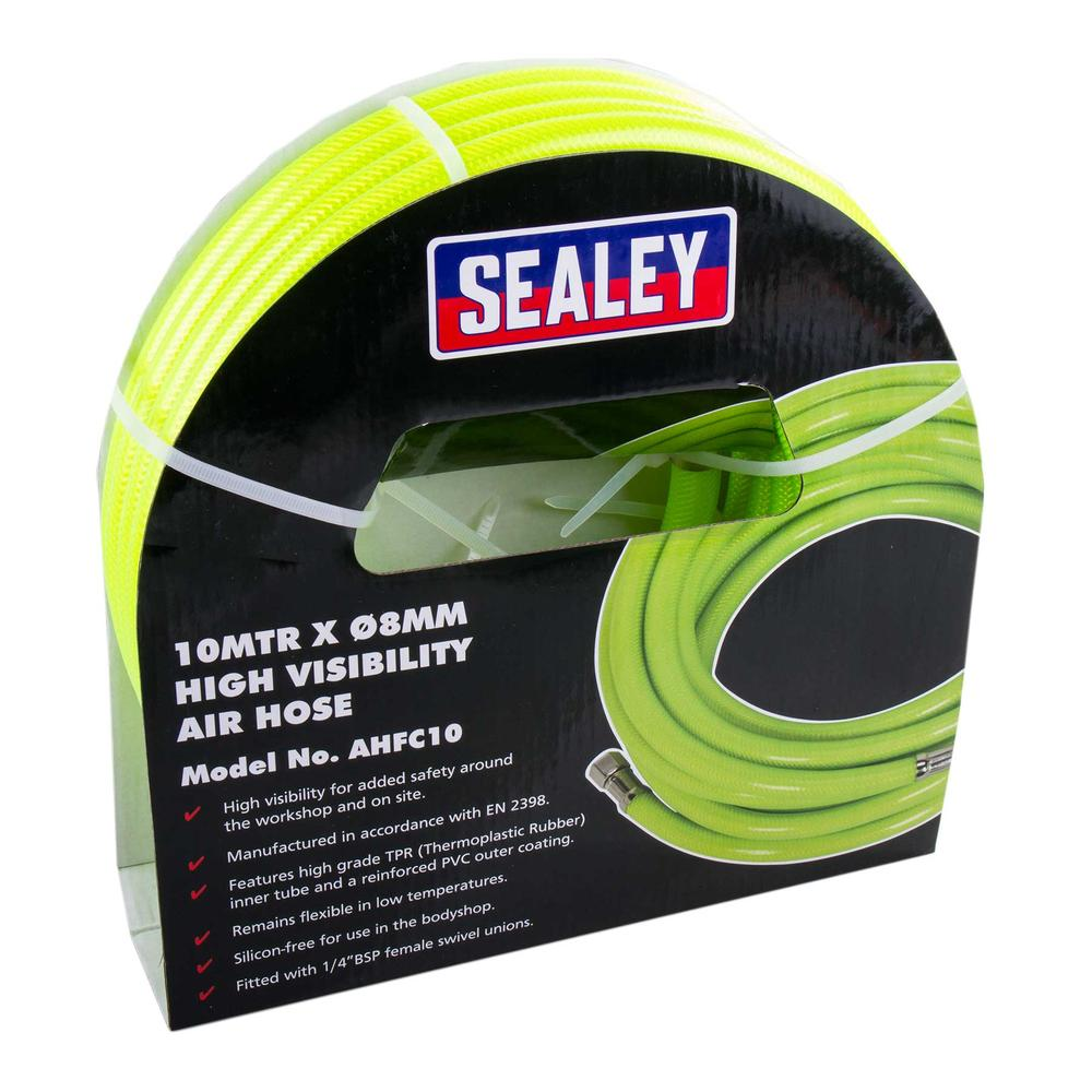 "Sealey High Vis Visibility Air Hose 10m x 8mm with 1/4"" BSP Unions"