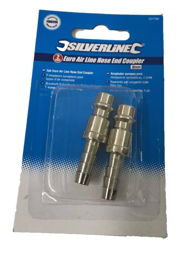 Silverline 237782 Euro Air Line End Coupler 8mm (2 Pack) Thumbnail 2