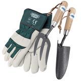 Draper Carbon Steel Hand Fork & Trowel Set With Large Gardening Gloves