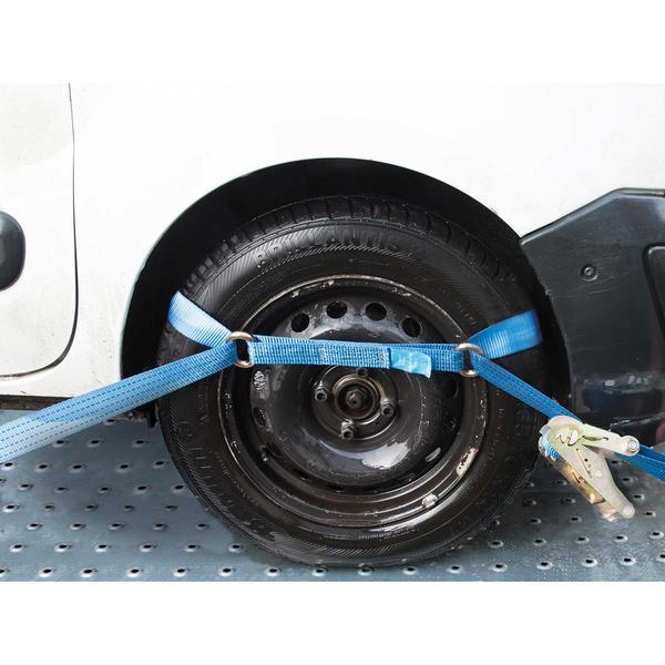 Silverline 874797 Car Transporter Tie-Down Strap Set Steel Wheel (3 Piece) Thumbnail 2