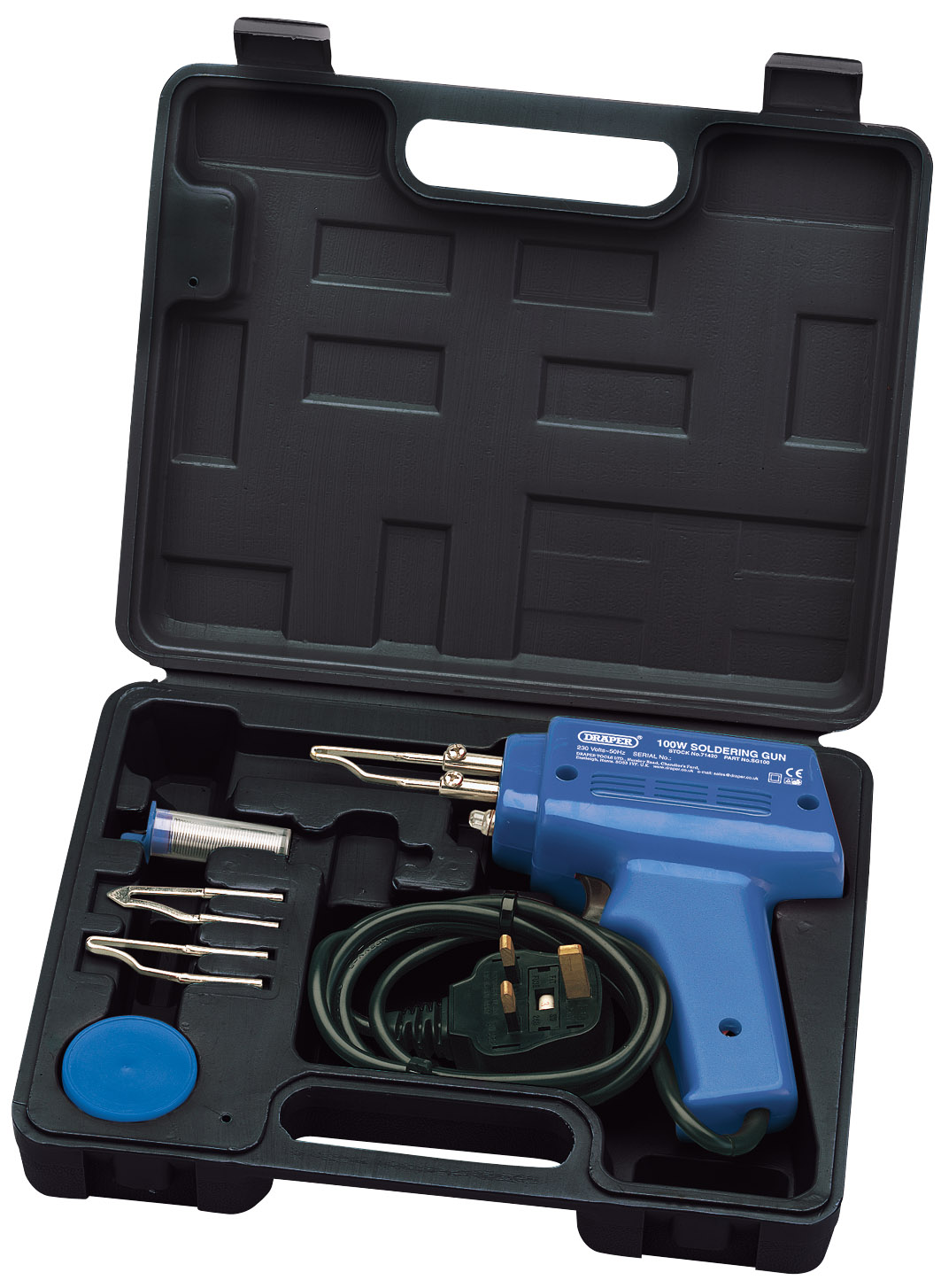 Draper 71420 Sg100 Complete 100 Watt Soldering Iron And Gun Kit For Circuit Boards What Kind Of Wattage