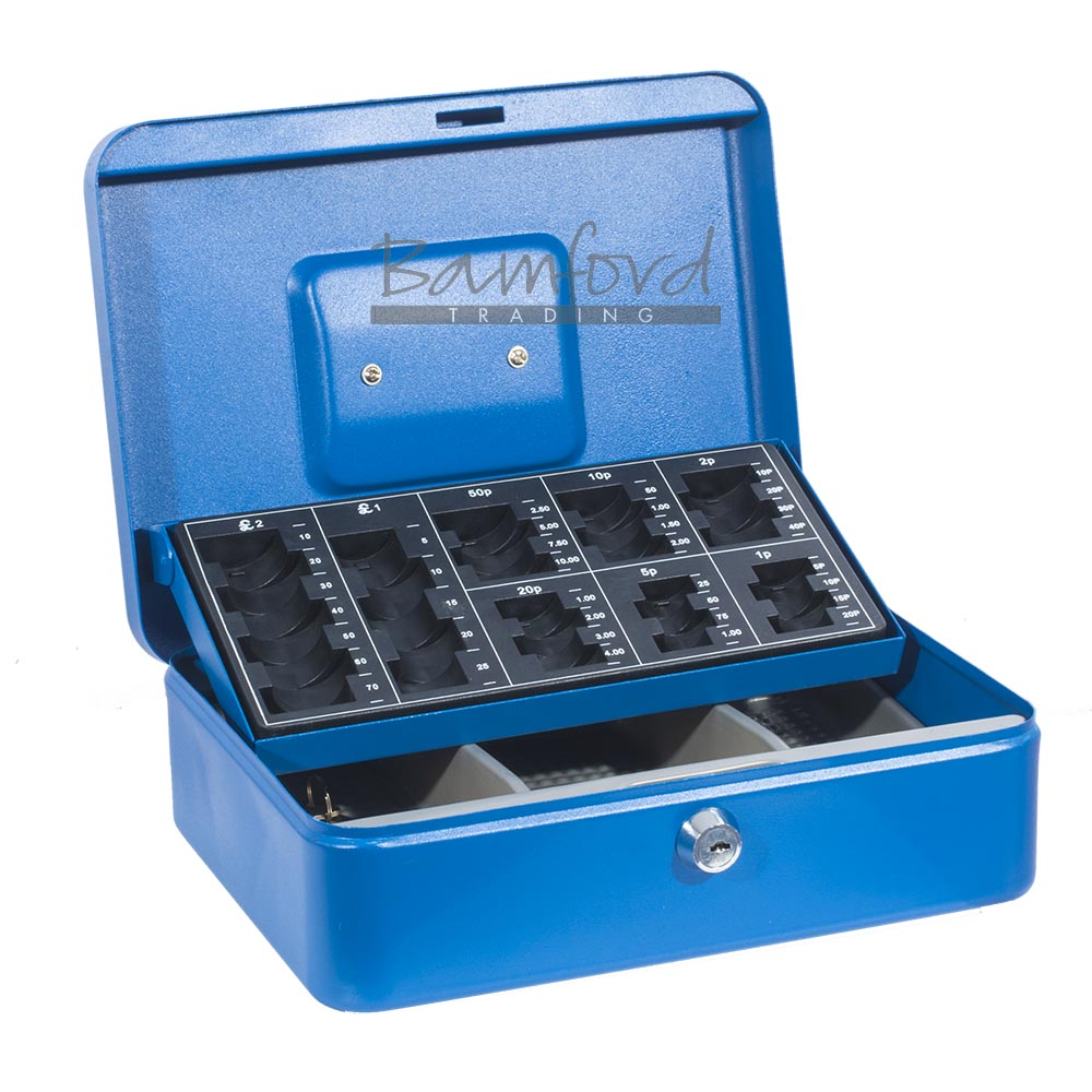 Blue Sterling Steel Cash Box With Coin Sorting Counting