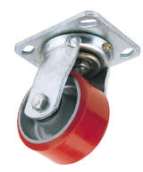Draper 65523 606100P 100mm Dia. Swivel Plate Fixing Heavy Duty Polyurethane Wheel - S.W.L. 250Kg