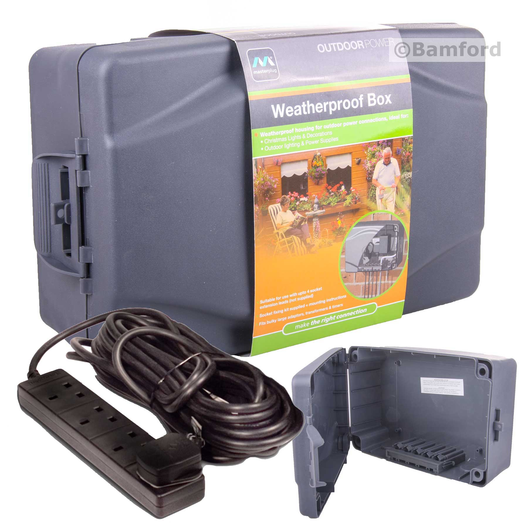 Masterplug Weatherproof Box With 10m Extension Lead For Outdoor