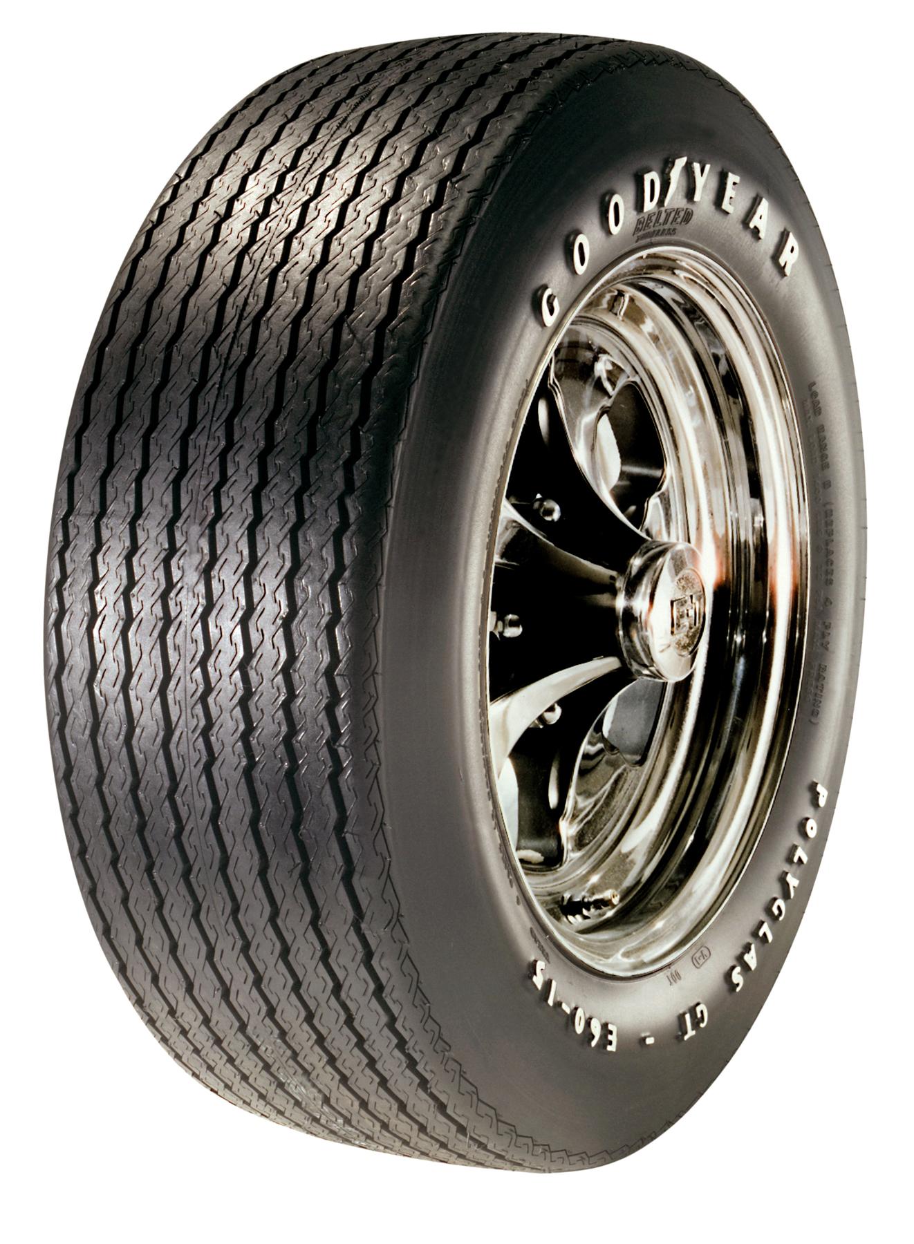 raised white letter tire (e/s) 2/2 polyglas gt tire e60/15 goodyear
