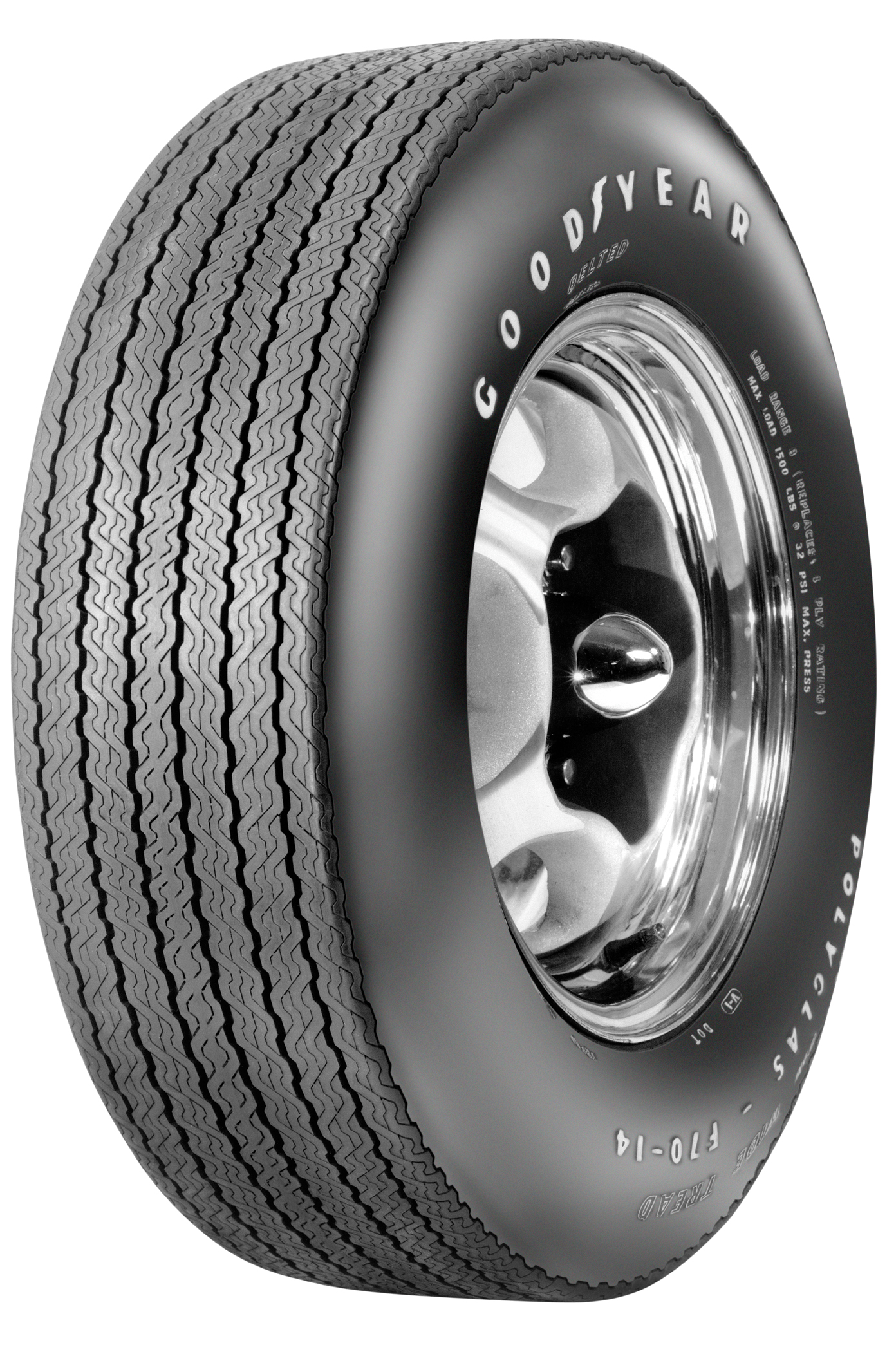 custom wide tread raised white letter (e/s) 2/2 polyglas tire f70/14