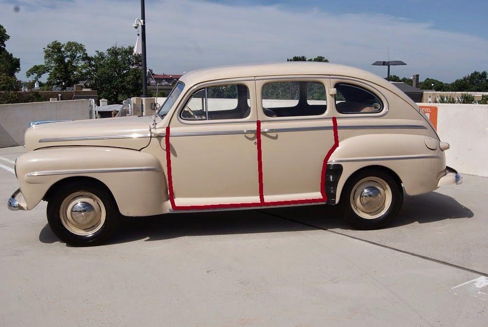 Door rubber weather strip seal 1941 48 ford deluxe for 1941 ford super deluxe 4 door sedan