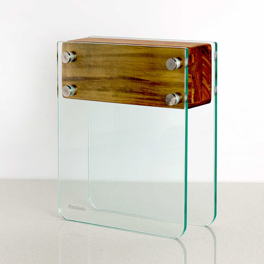 procook magnet messerblock aus glas und akazienholz large. Black Bedroom Furniture Sets. Home Design Ideas