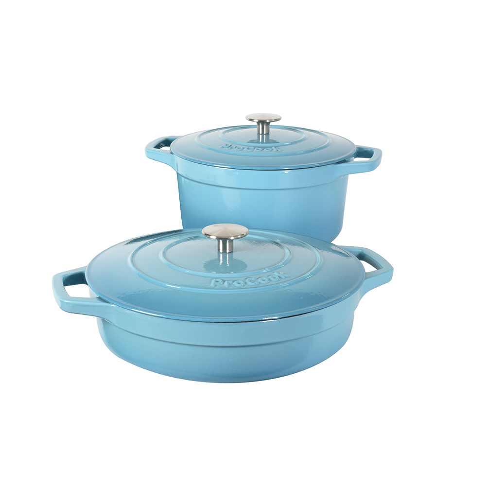 ProCook - Set Cocottes ronde & basse fonte émaillée induction turquoise