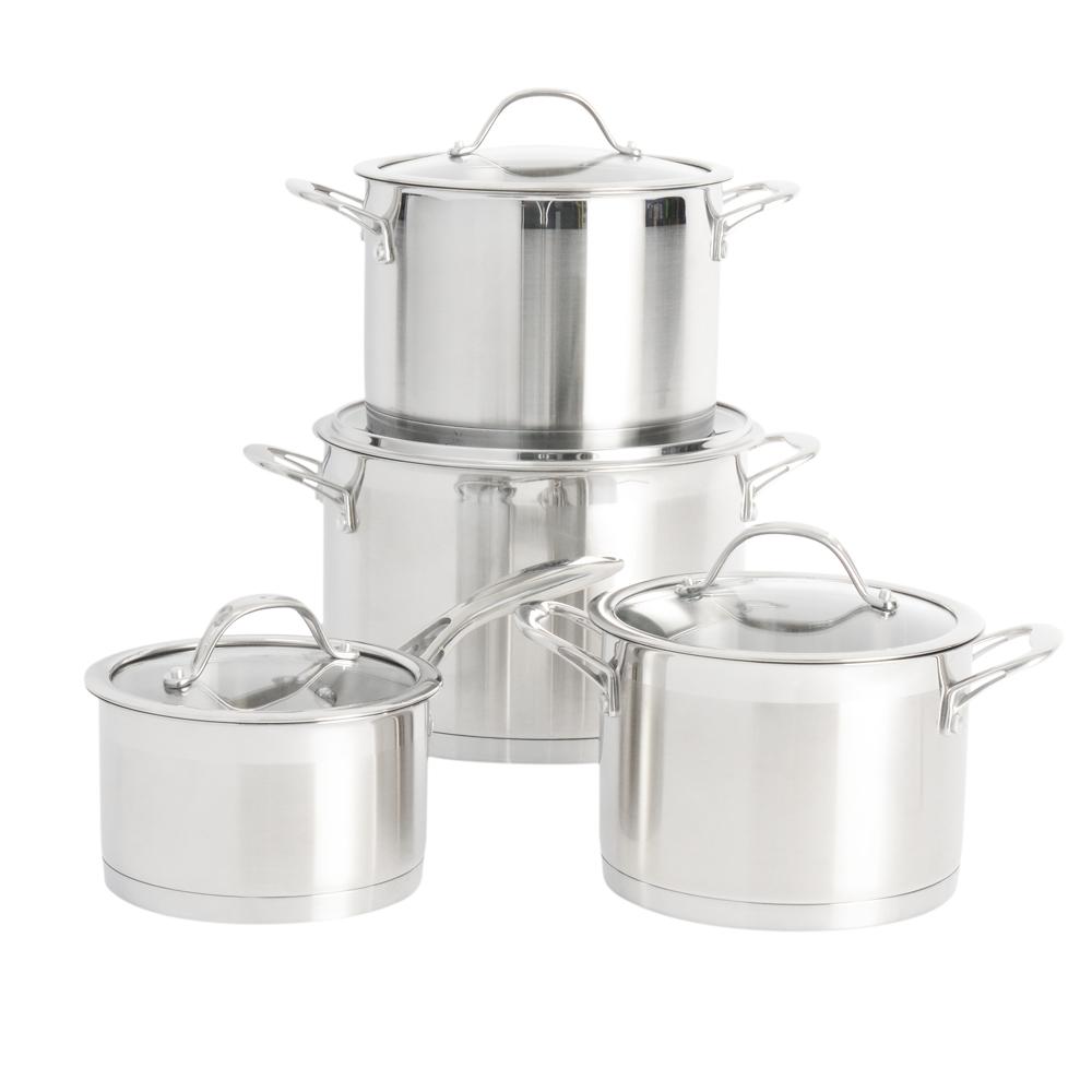 Batterie de cuisine Casserole 3PC en acier inoxydable Pan Pot Set nouvelle cuisine Chrome