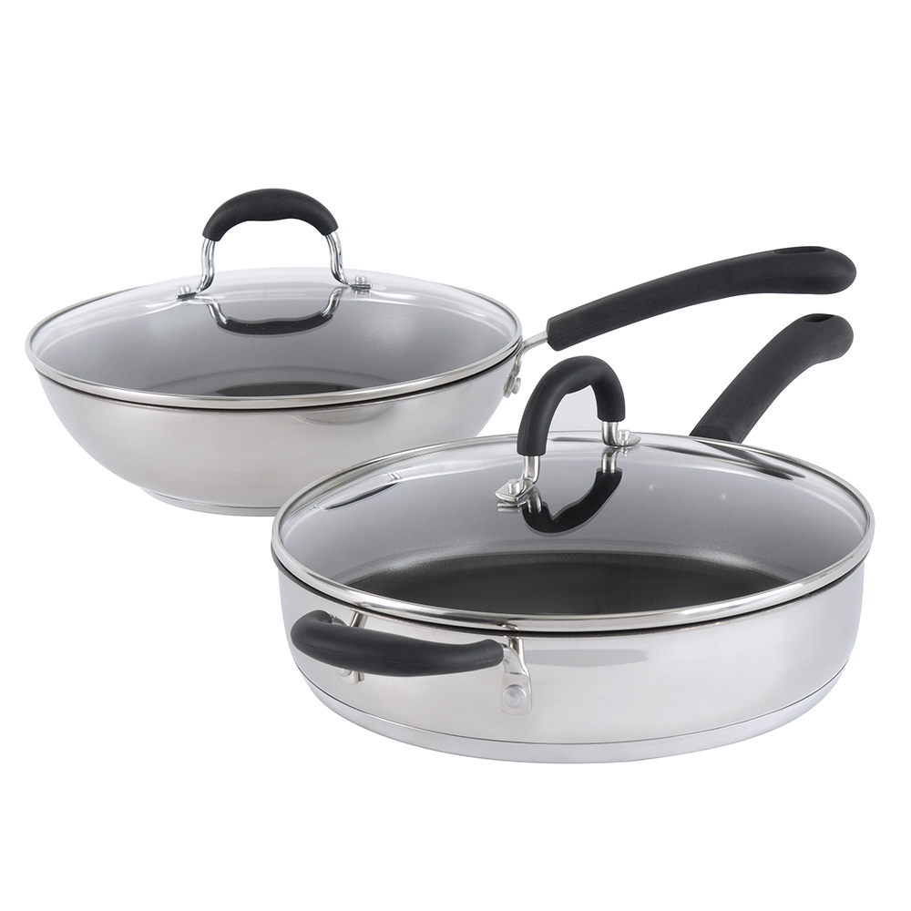 procook gourmet steel set wok mit deckel induktion set 2 teilig mit saut pfanne ebay. Black Bedroom Furniture Sets. Home Design Ideas