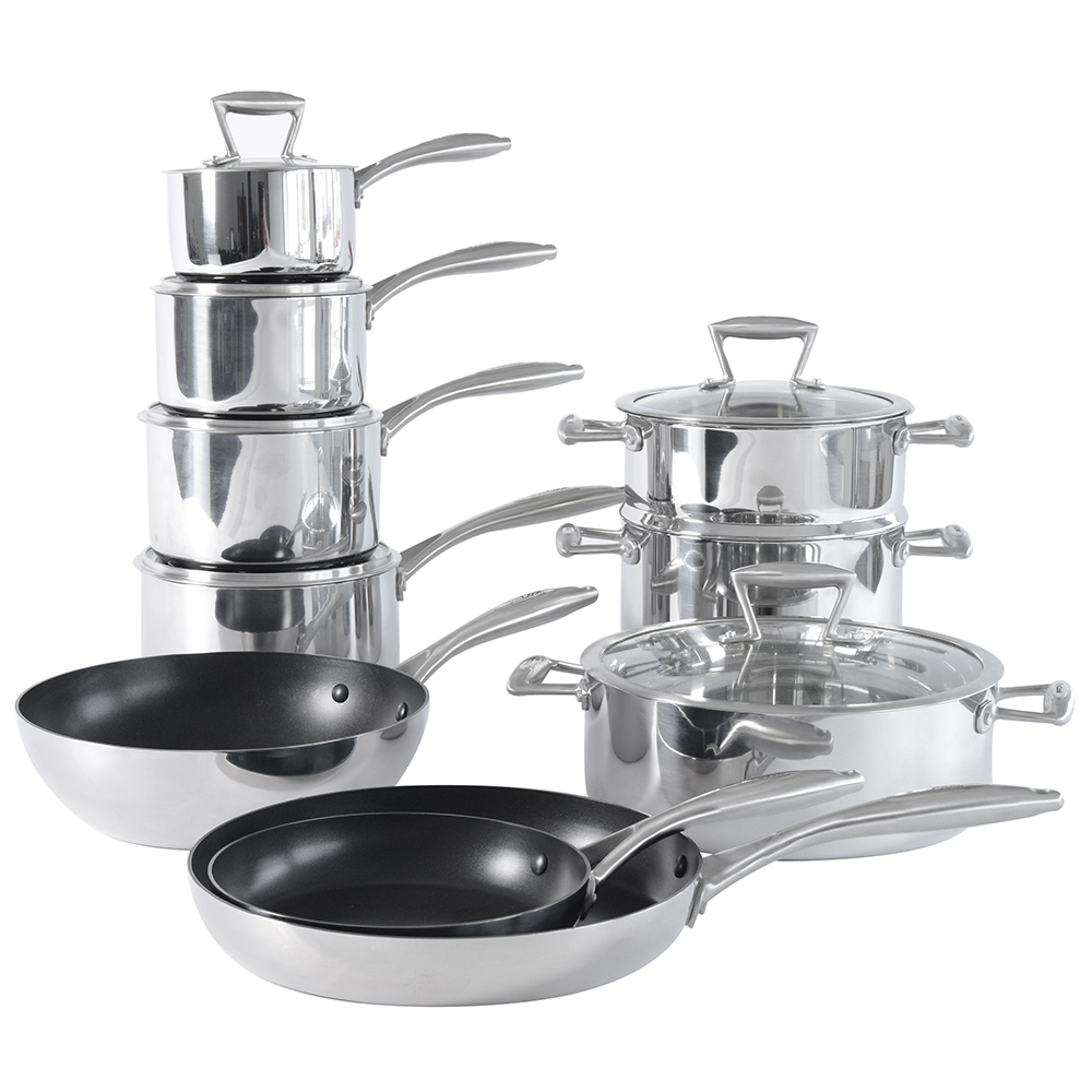 procook tri ply induction cookware set stainless steel 3 ply 10 piece with wok ebay. Black Bedroom Furniture Sets. Home Design Ideas