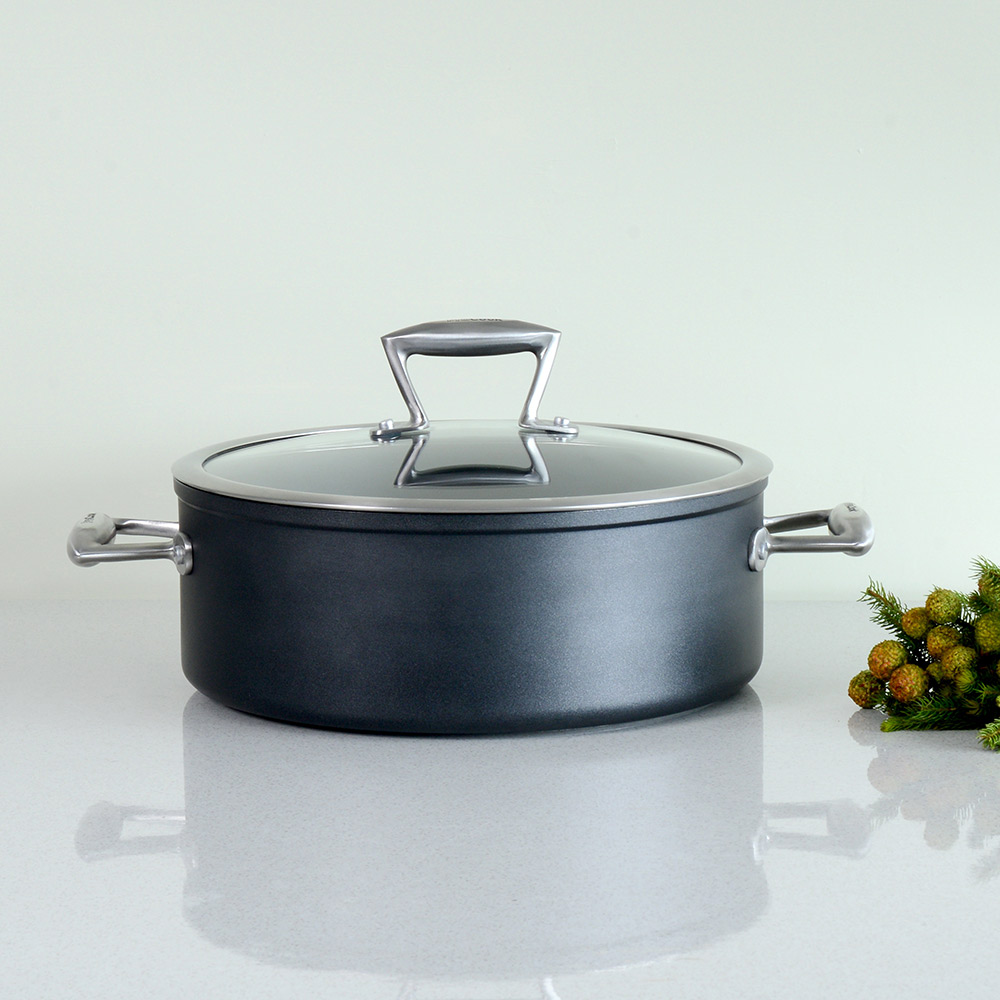 procook forged non stick induction shallow casserole with lid durable ebay. Black Bedroom Furniture Sets. Home Design Ideas