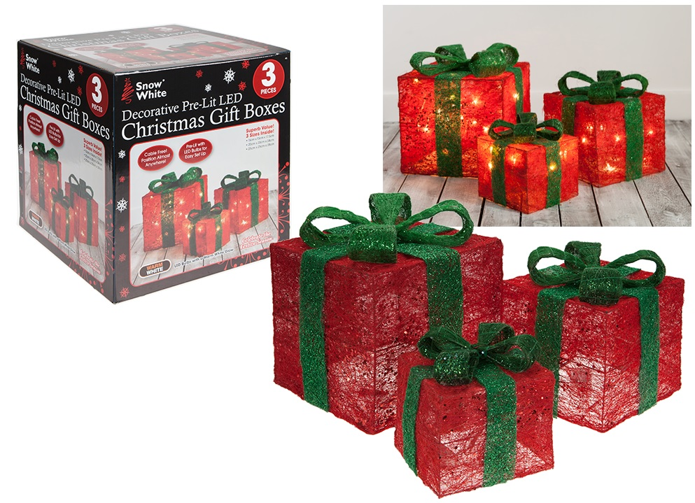 set of 3 red and green pre lit led christmas gift boxes battery powered