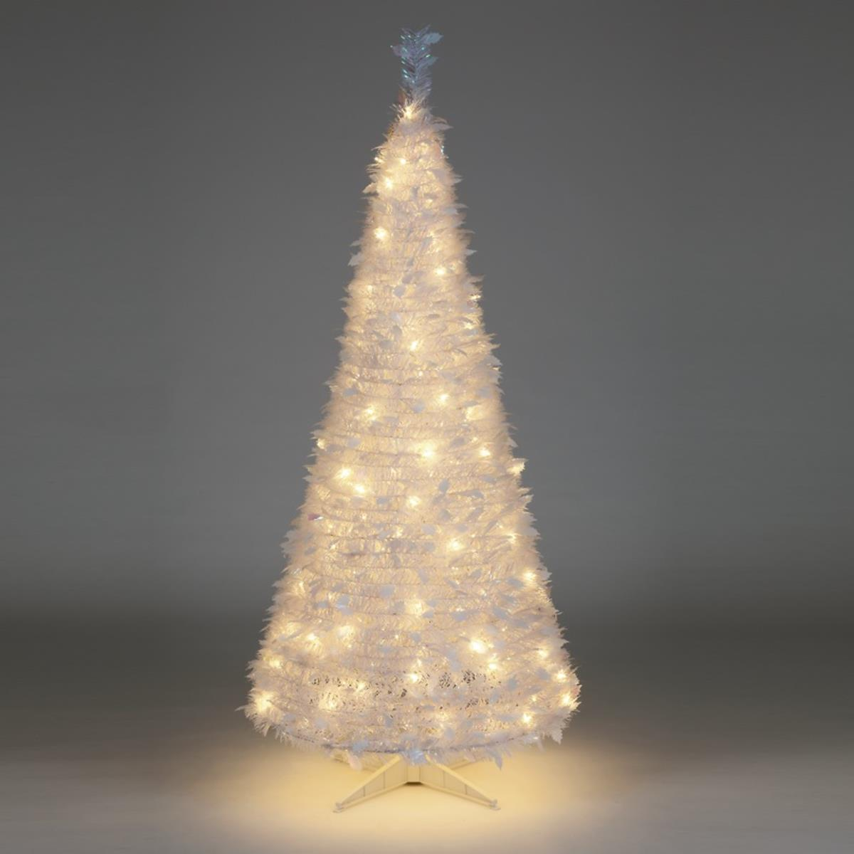 6ft Pre Lit White Holly Pop Up Indoor Christmas Tree (200 Warm White ...