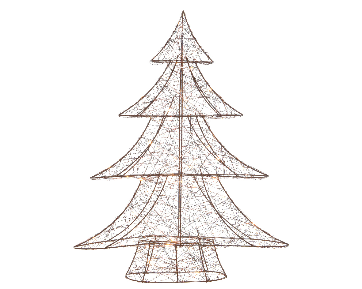 Copper Wire Christmas Tree with Warm White Lights Modern Christmas ...