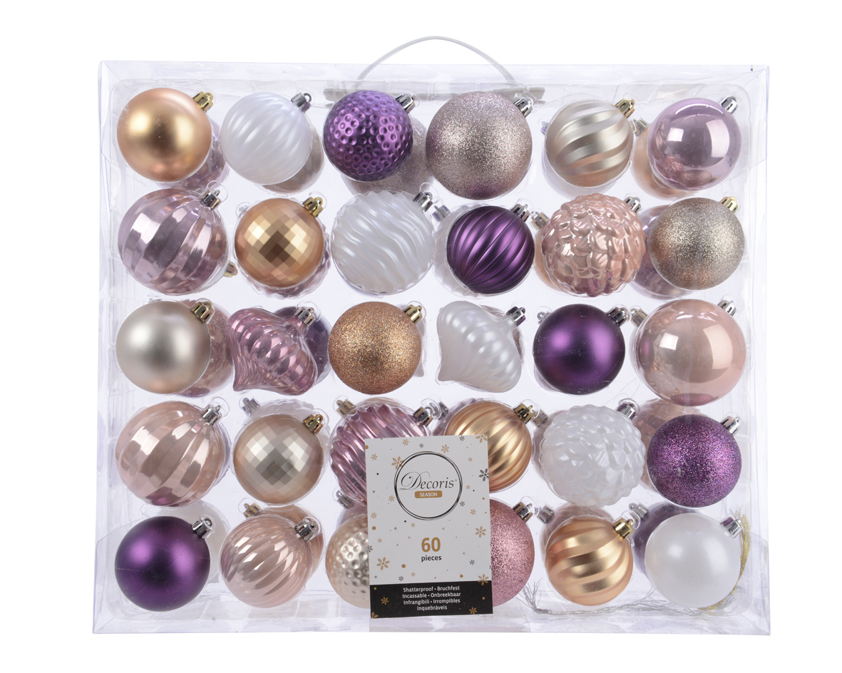 Details about Set of 60 Purple Gold White Mixed Shatterproof Baubles Christmas Tree Decoration