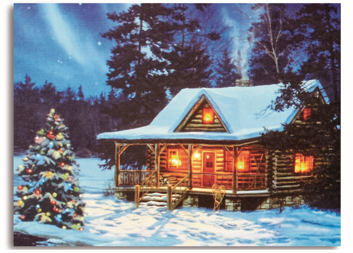 Christmas Vacation House Lights.Details About 40cm Wood Cabin Christmas Canvas With Warm White And Colour Changing Led Lights