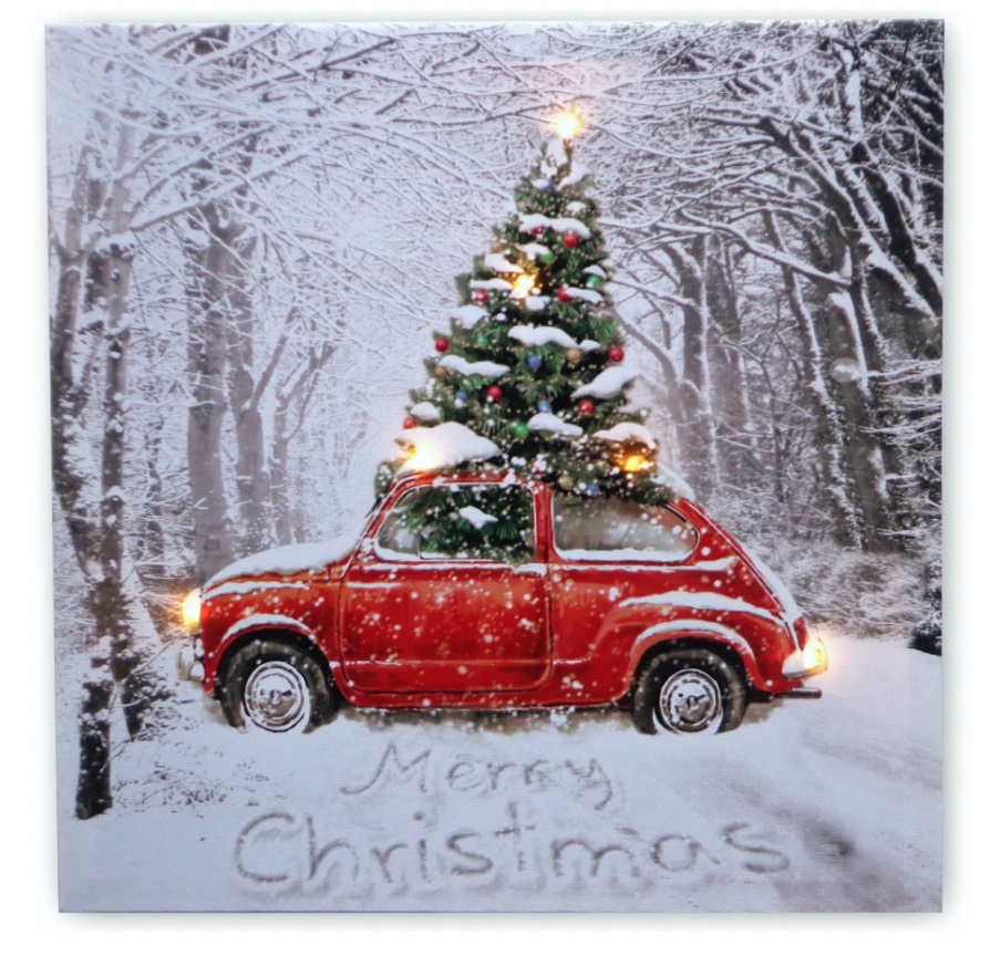 Car Christmas Tree.Details About 40cm Red Car With Christmas Tree Led Lit Indoor Christmas Wall Canvas