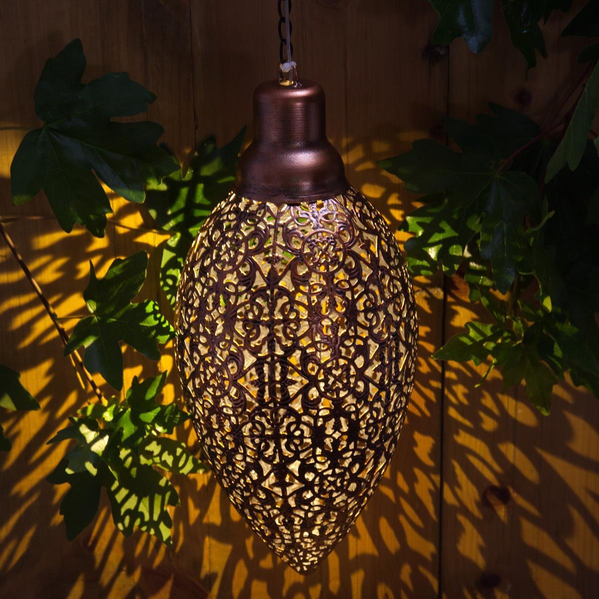Noma Large Modern Metallic Hanging Solar Powered Garden Light