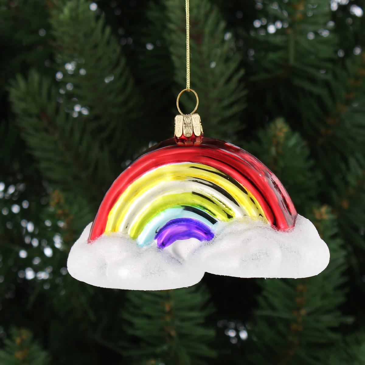 Rainbow and Smiling Sun Glass Christmas Ornament