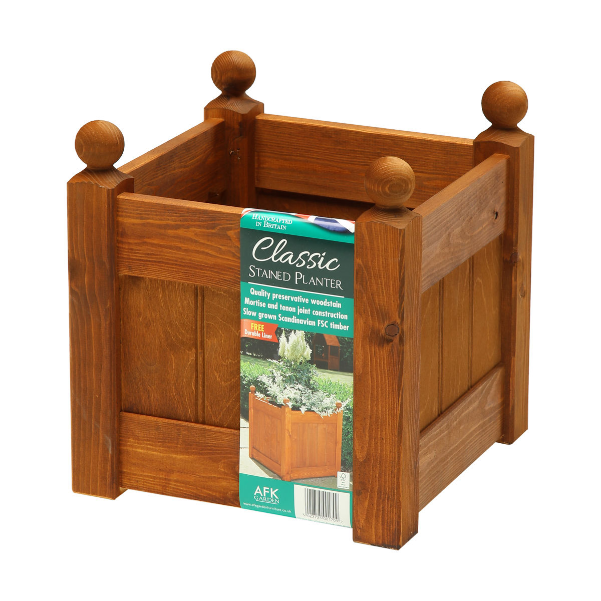 AFK 15\'\' Classic Planter Beech Stained Wooden Garden Planter with ...