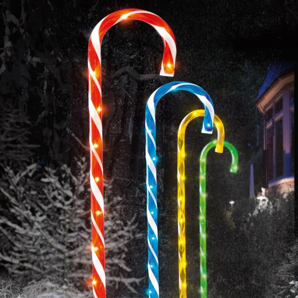 Set Of 4 Colourful Candy Cane Path Outdoor Christmas Lights