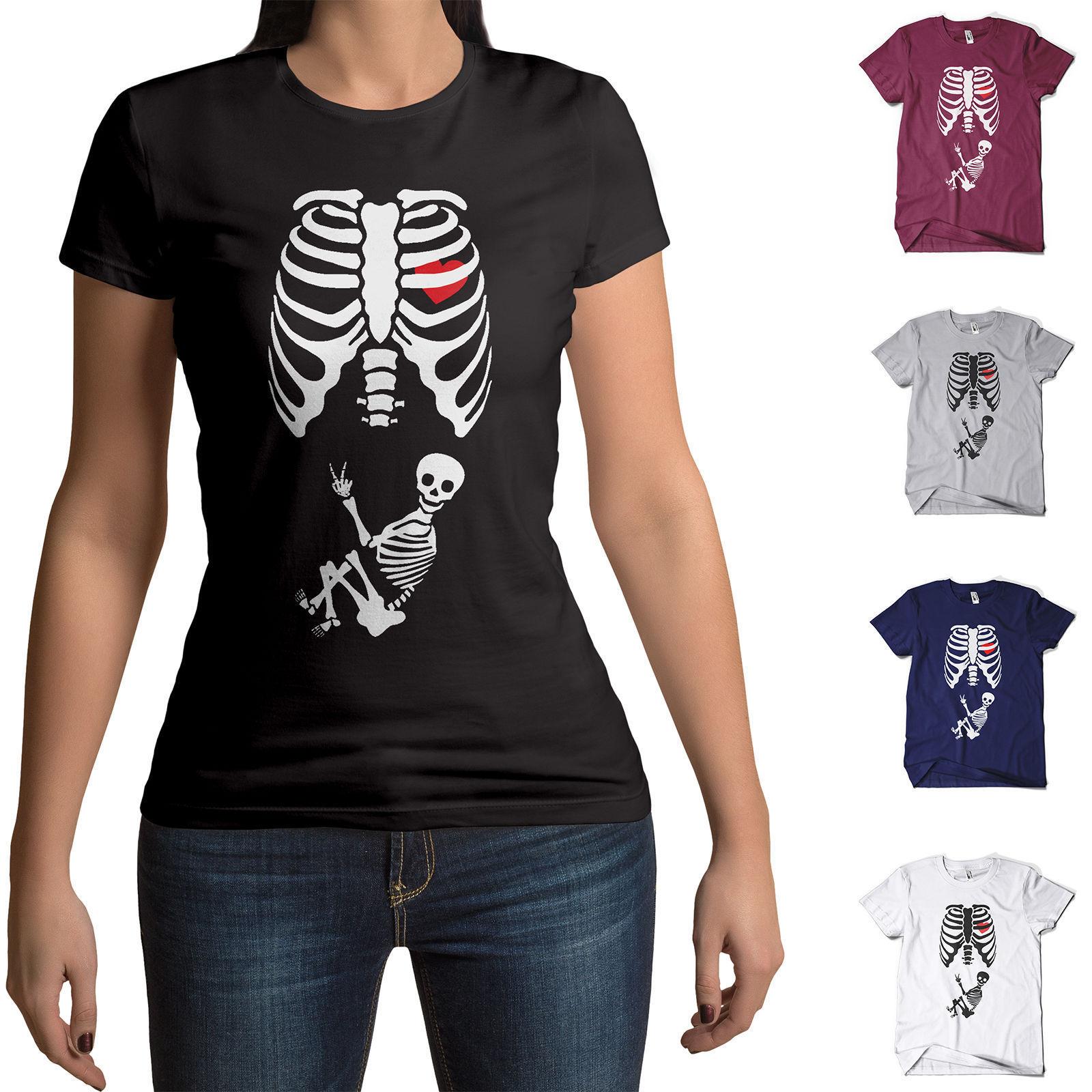 baby skeleton t shirt maternity pregnant halloween funny joke mens