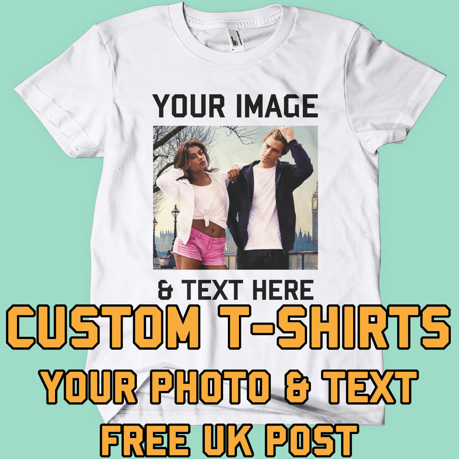 Your Image Text Photo Here Custom T Shirt Printing Personalised Stag