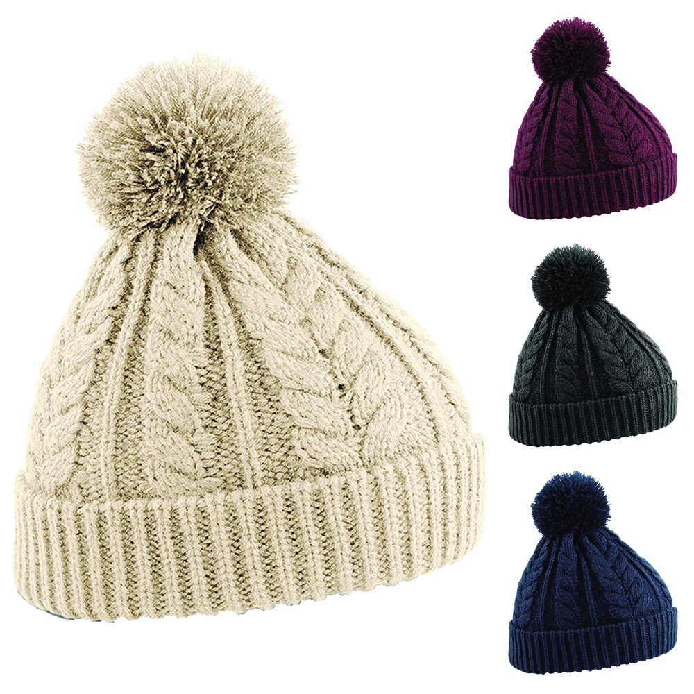 Details about Womens Ladies Cable Knit Snowstar Winter Ski Knitted Pom Pom  Bobble Beanie Hat 6e18f0d9a53