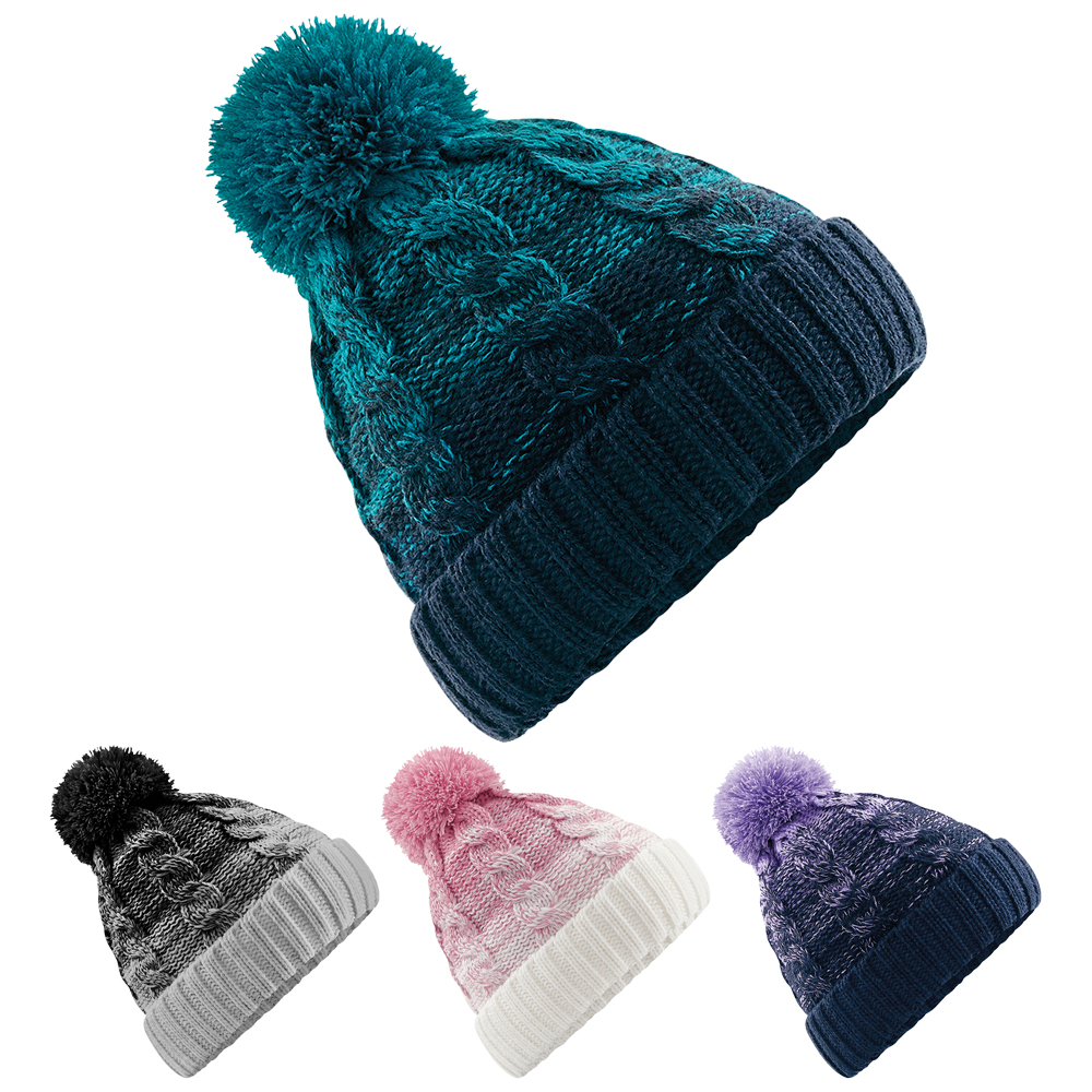 9b99bcb03e1 Womens Ladies Ombré Wooly Winter Ski Wooly Knitted Pom Pom Bobble Beanie Hat