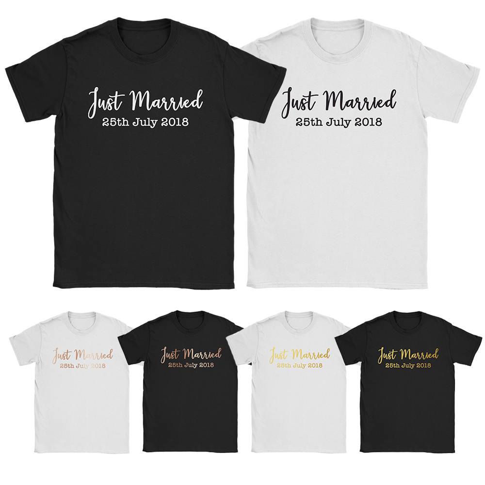 313c49c8ae Details about Personalised Just Married T Shirts Wedding Bride Groom His  Hers Matching Tops