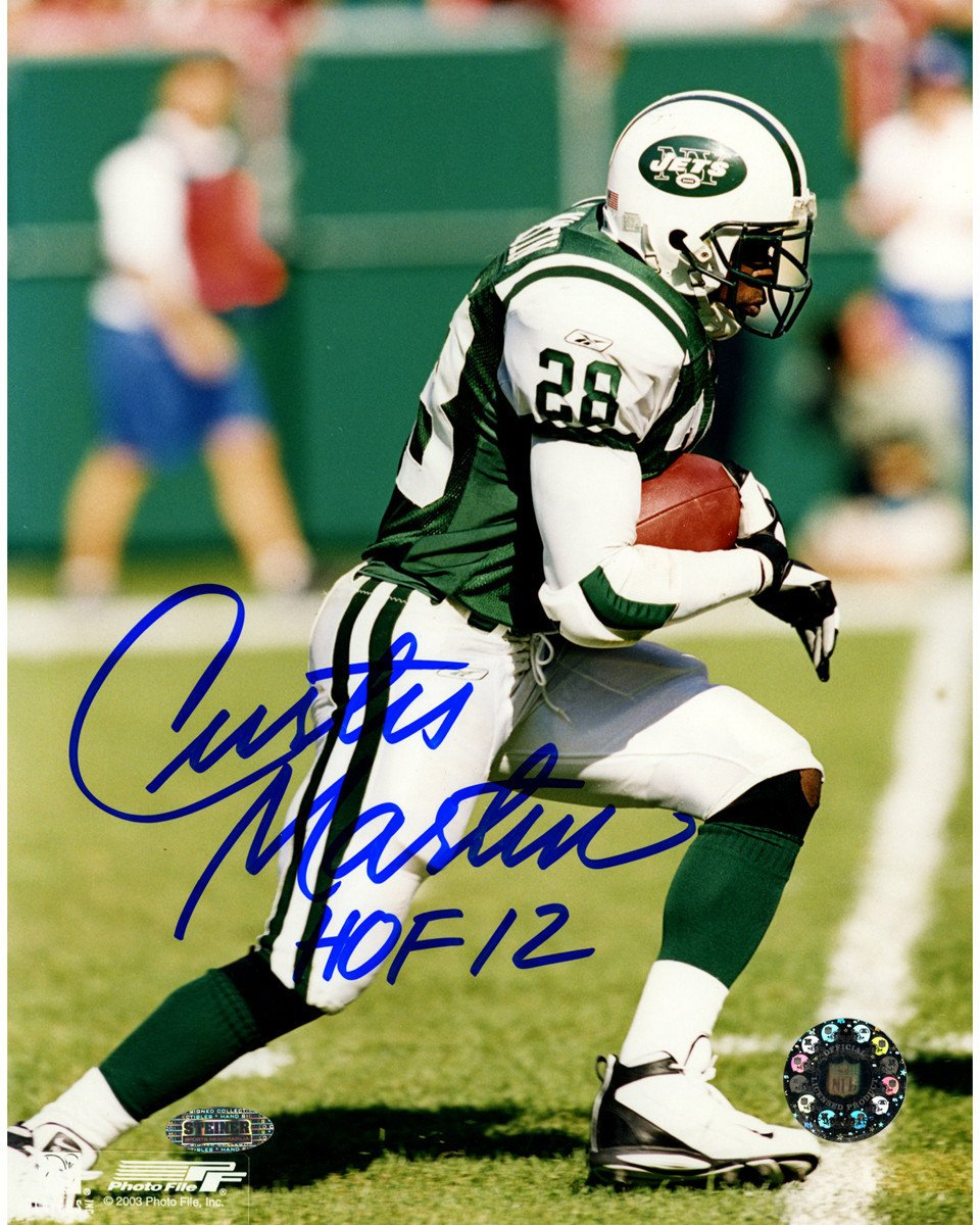 44ec32addb0 Curtis Martin Jets Signed Side View Running 8x10 Photo w  HOF 12 Insc.