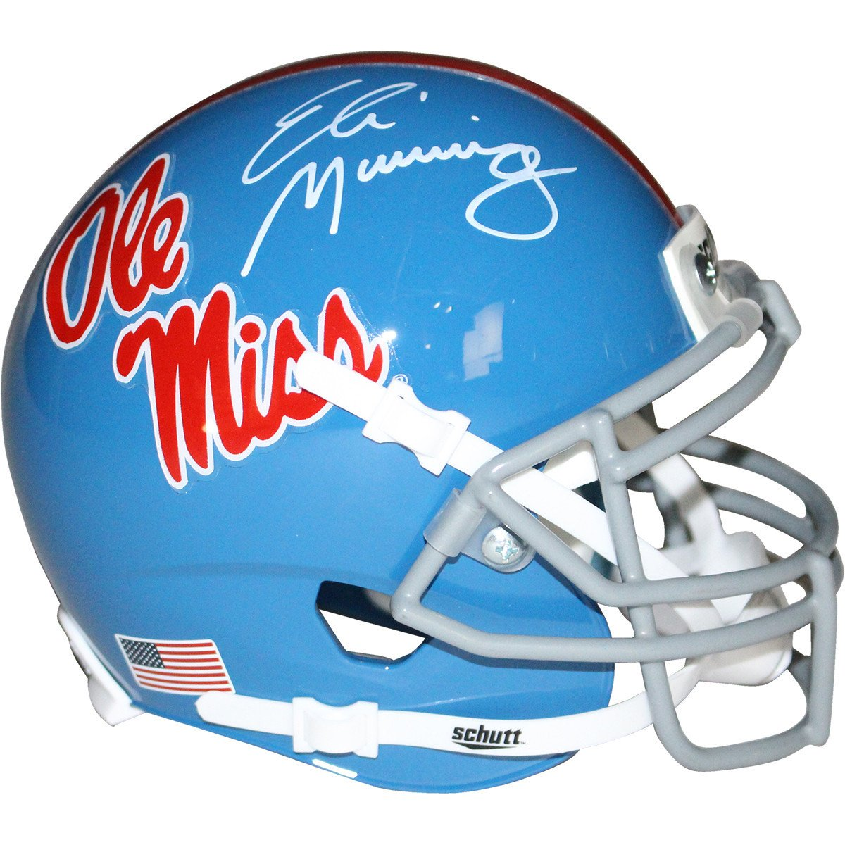 online store f8aca 218c5 Details about Eli Manning Signed Ole Miss Powder Blue Replica Mini helmet