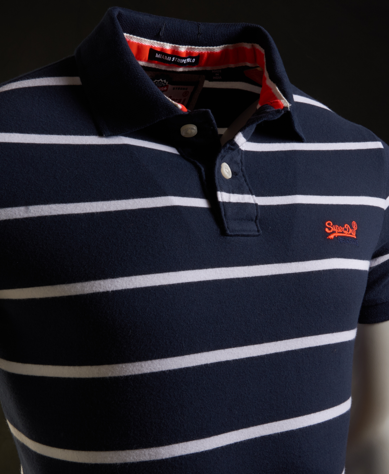 f873b082b Sentinel Mens Superdry Miami Stripe Polo Shirt Navy