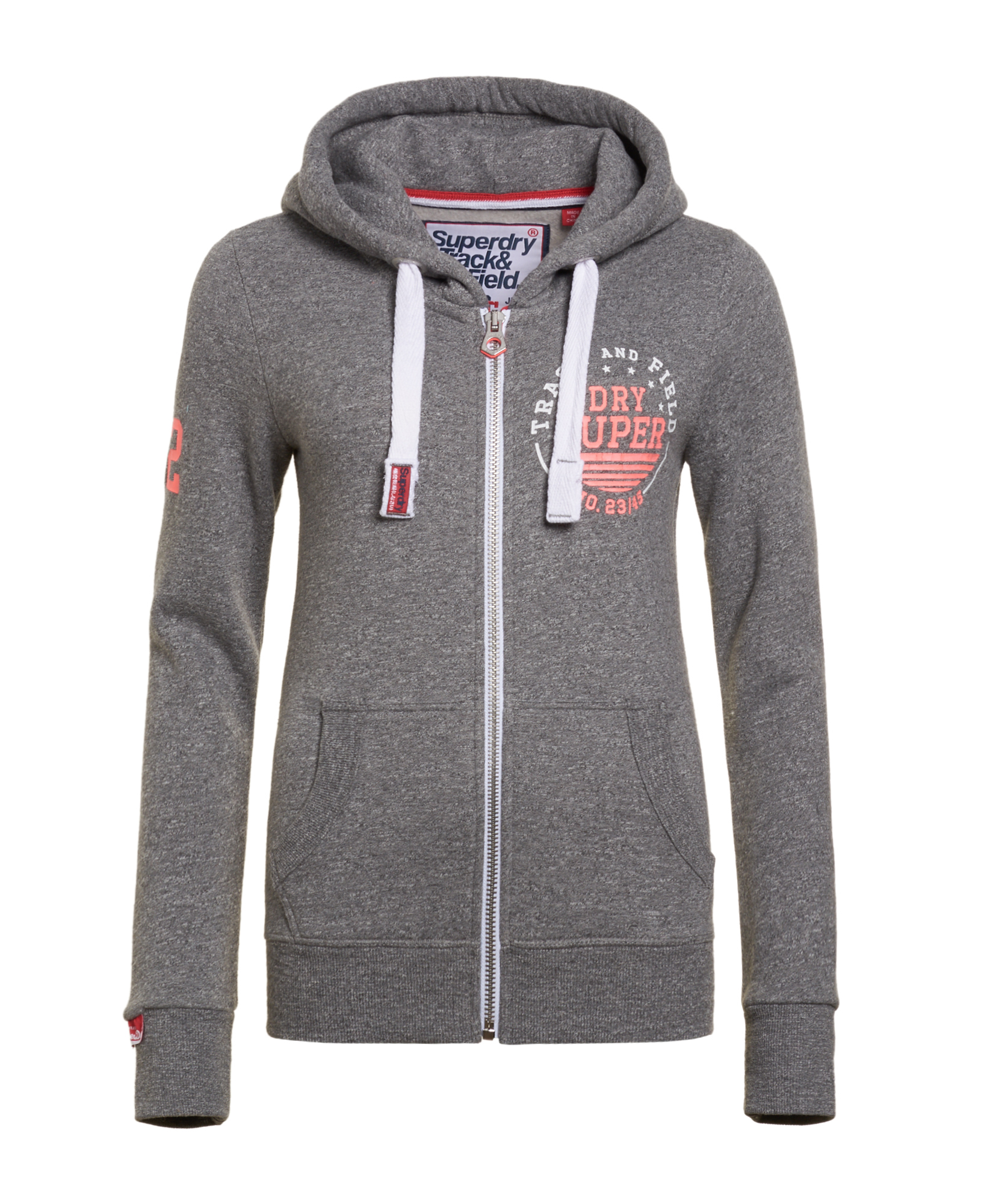 the best attitude b715a 5691e Details about Womens Superdry Track & Field Zip Hoodie Rugged Grey