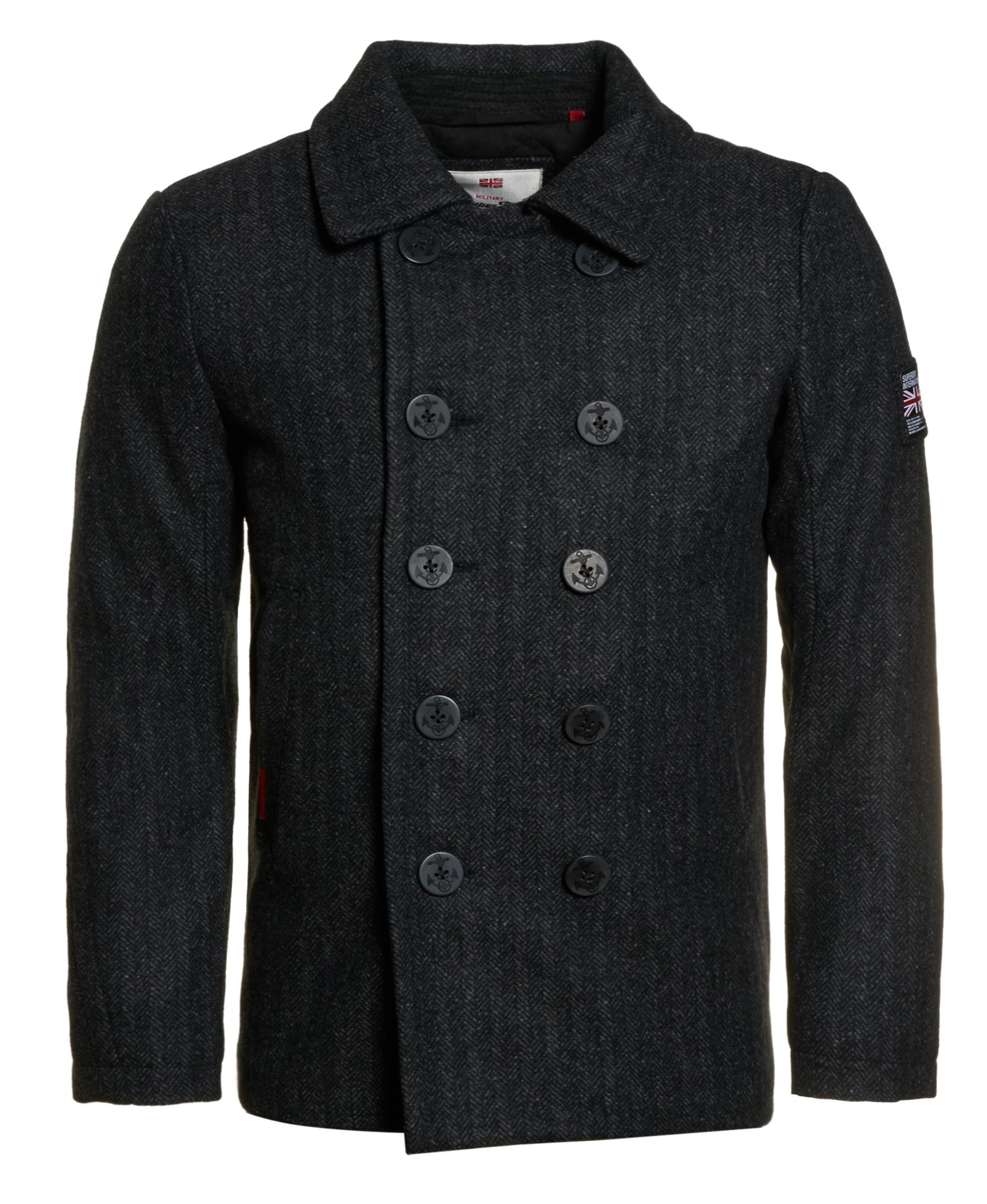 MENS SUPERDRY ROOKIE Pea Coat Charcoal Herringbone $69.50