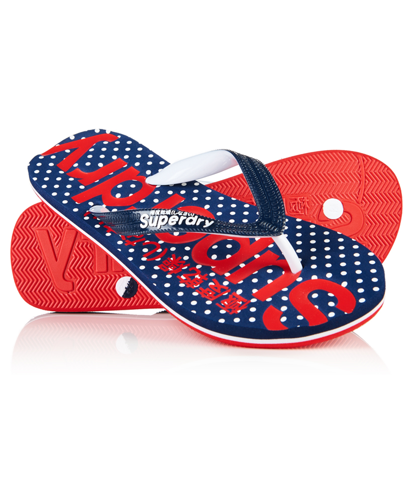 1e0607cfce4daf Womens Superdry All Over Print Flip Flops Micro Polka Dot