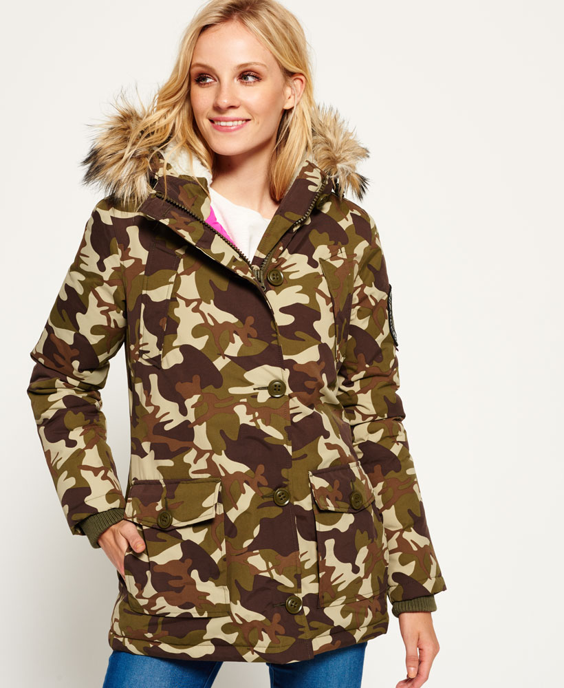 timeless design ebe19 a07f2 Details about Womens Superdry Everest Parka Jacket Camo