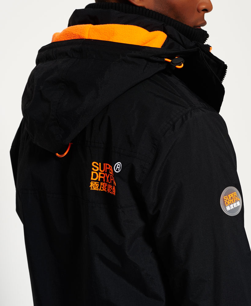 Sentinel New Mens Superdry Pop Zip Hooded Arctic Sd-Windcheater Jacket Black /Fluro Orange