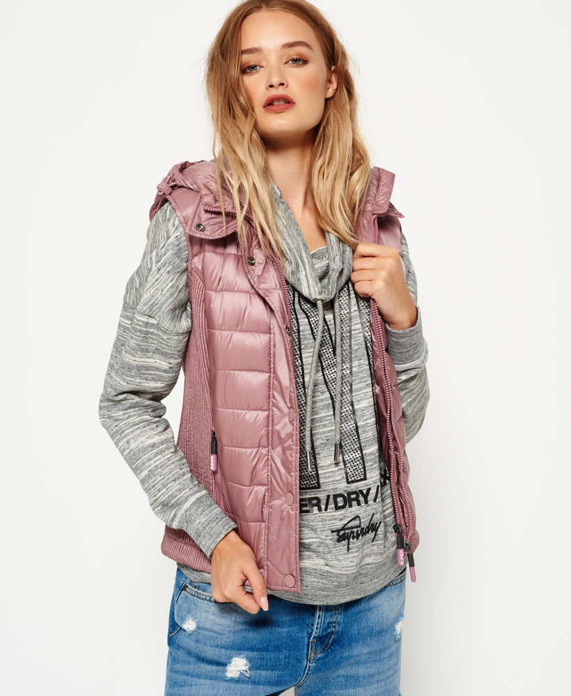 Details about Womens Superdry Luxe Fuji Double Zip Vest Shimmer Pink