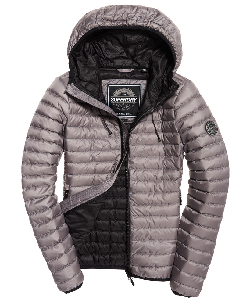 Details about New Womens Superdry Core Down Hooded Jac Comet Silver