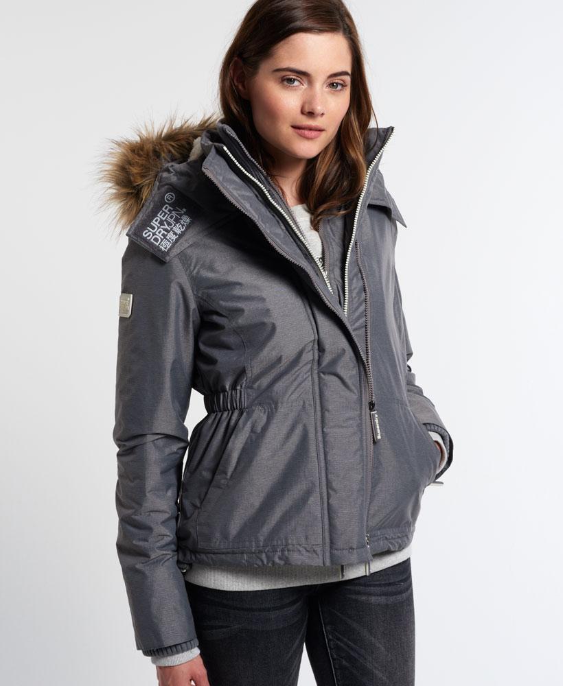 Sentinel New Womens Superdry Hooded Fur Sherpa Wind Attacker Jacket Light  Grey Marl