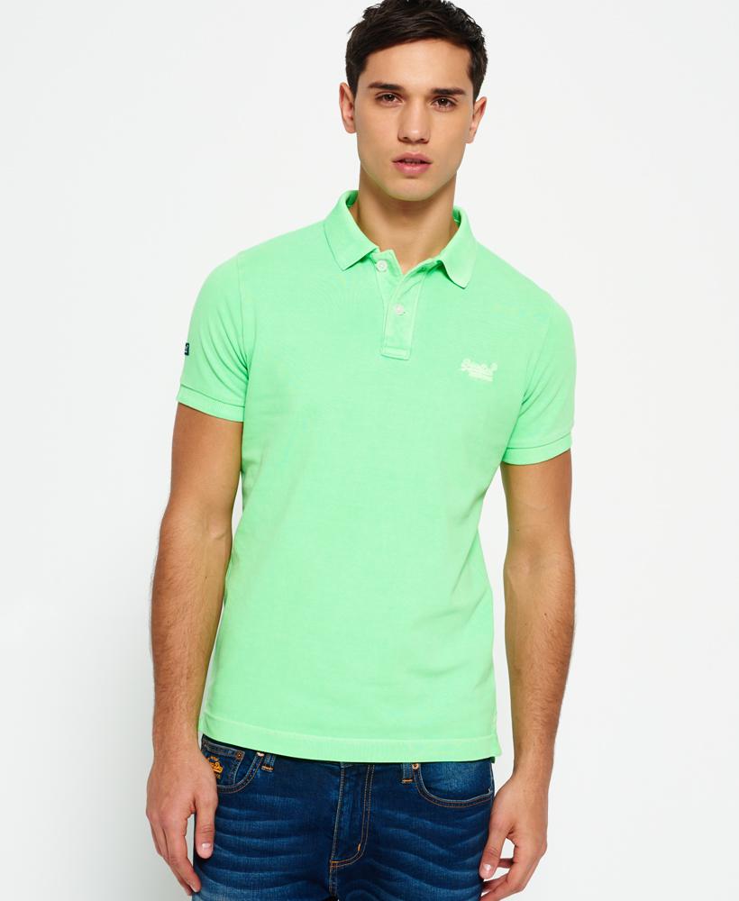 Mens Superdry Vintage Destroyed Pique Polo Shirt Lime Green Ebay