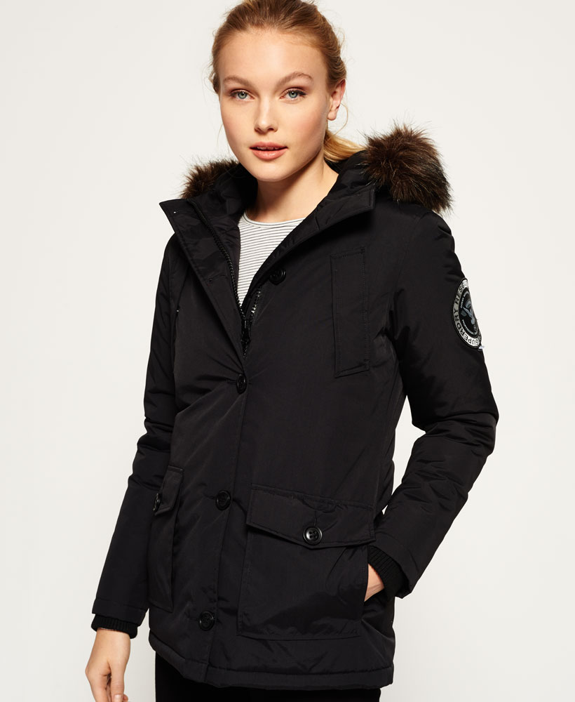 a5cb7d70739a Sentinel New Womens Superdry Everest Parka Jacket Black