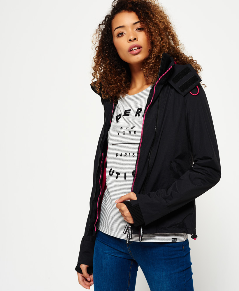 Details about Womens Superdry Pop Zip Hooded Arctic SD Windcheater Jacket BlackRaspberry