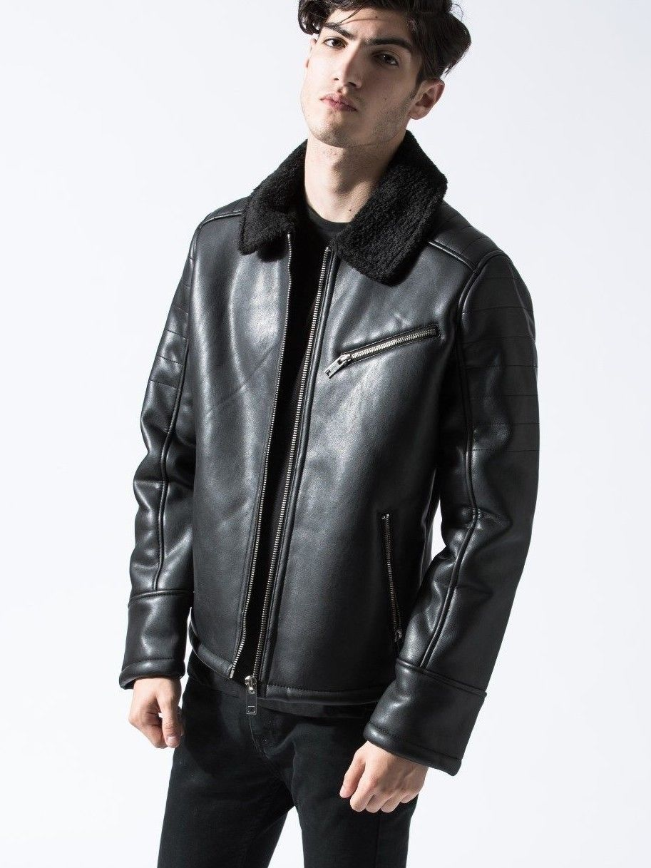 Men S Black Faux Leather Aviator Jacket With Faux Shearling Collar