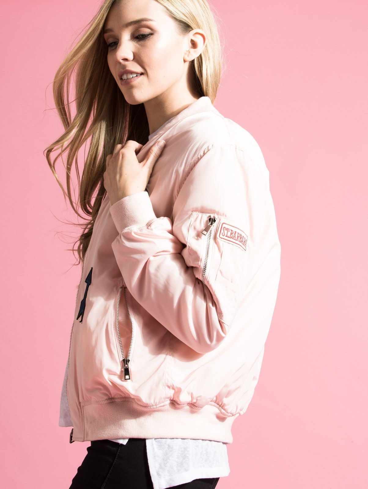 e7155bdd5 Details about Women's Baby Pink Bomber Jacket with Patches | Sizes 8, 10,  12, 14