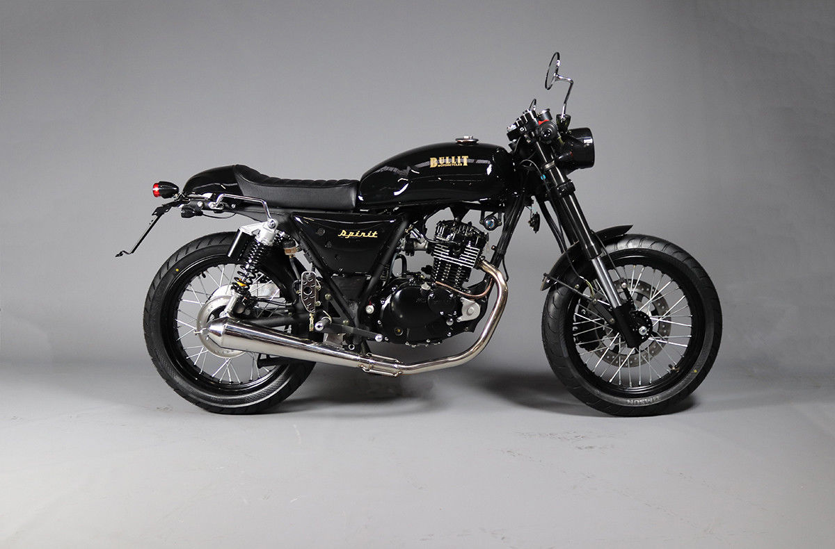 Bullit Spirit Motorcycle Learner Legal Cafe Racer Retro 125cc Bike In Gold Black Ebay