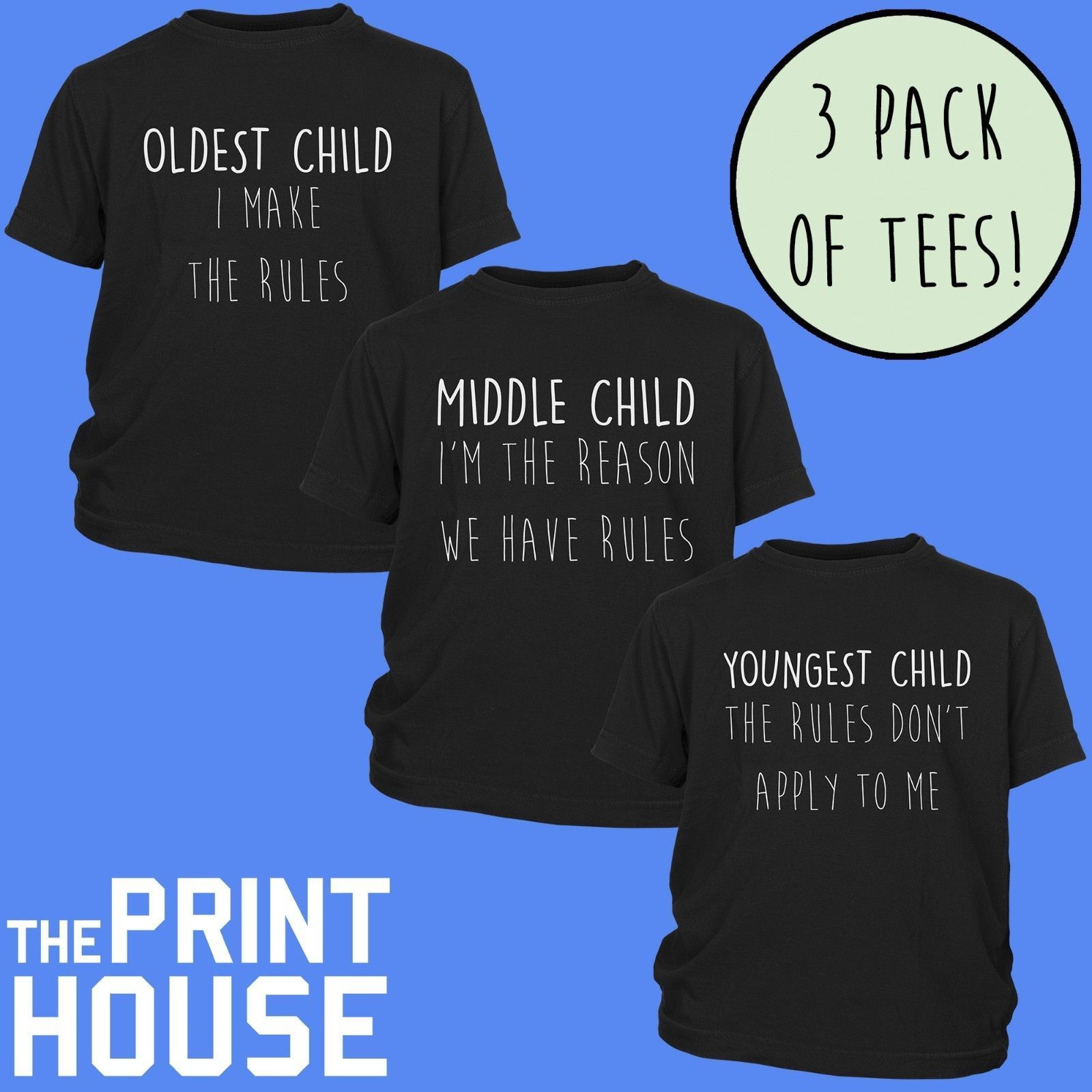 490bf3c1f Details about New Kids Family Rules T Shirts 3 Pack Youngest Middle Oldest  Child Childrens Top